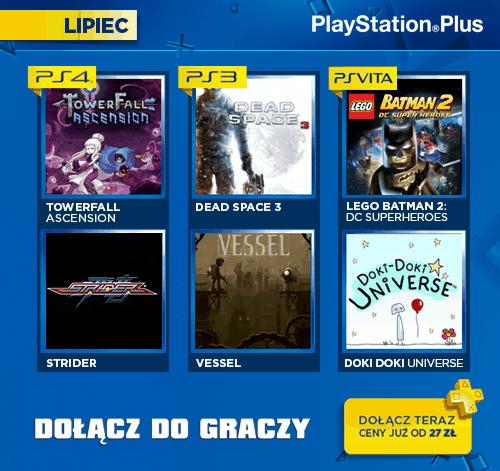 PlayStation Plus - oferta gier na miesiąc lipiec.