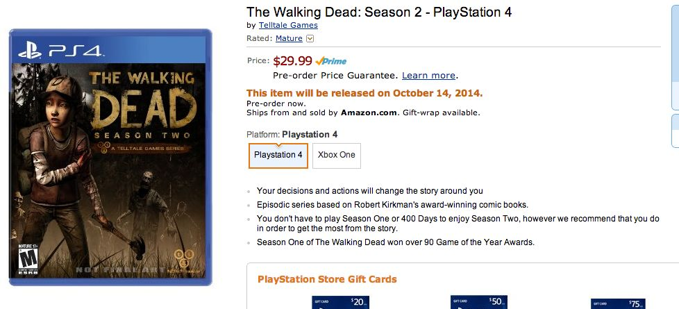 Drugi sezon The Walking Dead na PlayStation 4.