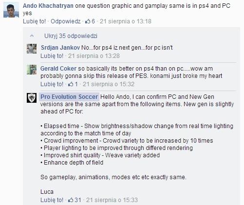 Gracze komputerowi zostaną pozbawieni kilku pomniejszych elementów PES 2015.