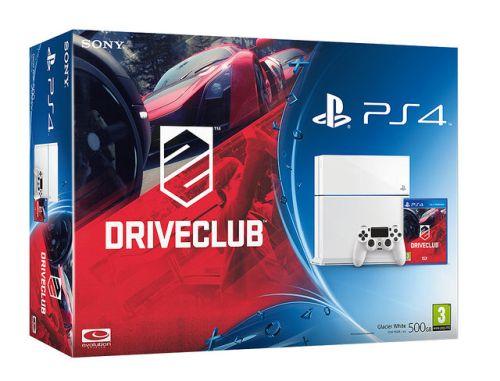 Biała wersja PlayStation 4 wraz z Driveclub.