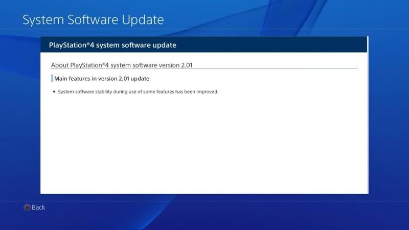 Szczegóły (?) aktualizacji 2.01 do PlayStation 4.