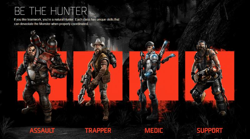 Klasy postaci dostępne w grze Evolve.