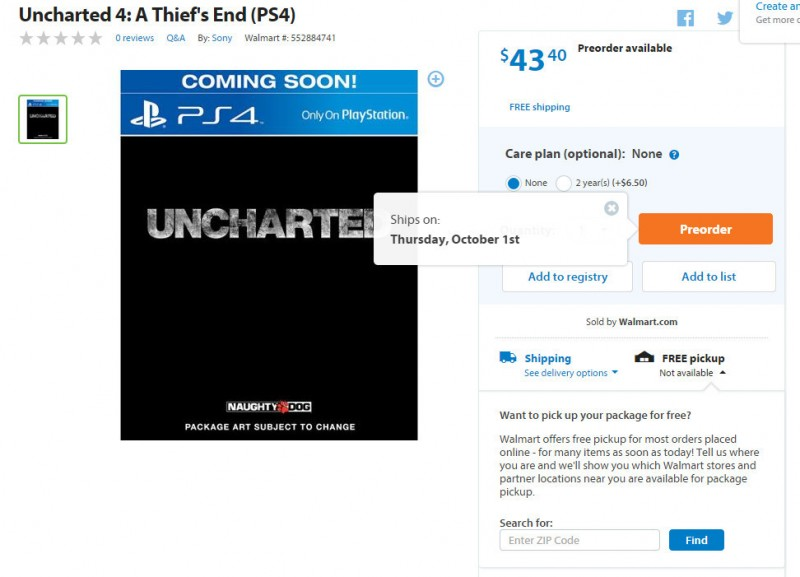 Data premiery Uncharted 4: A Thief's End?