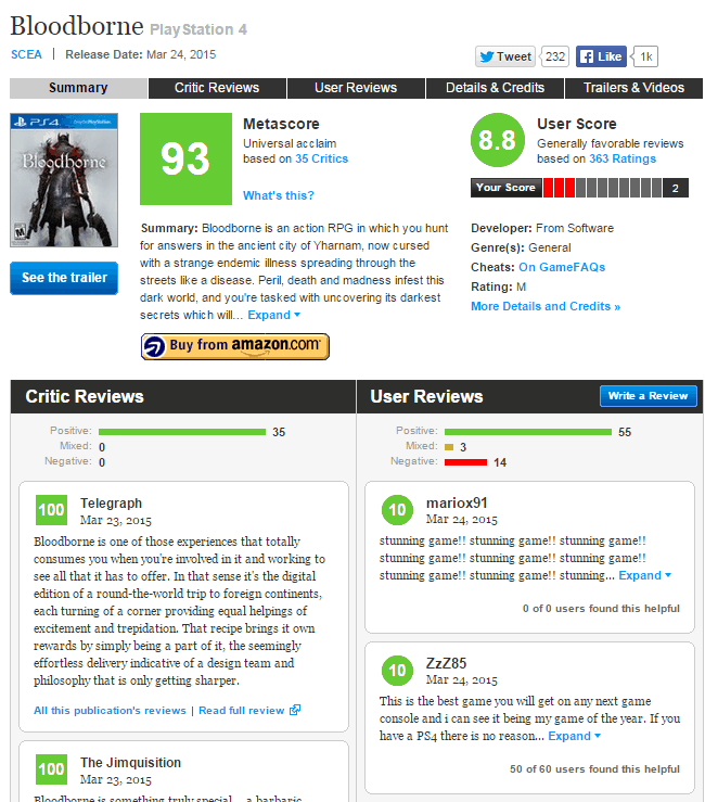 bloodborne metacritic