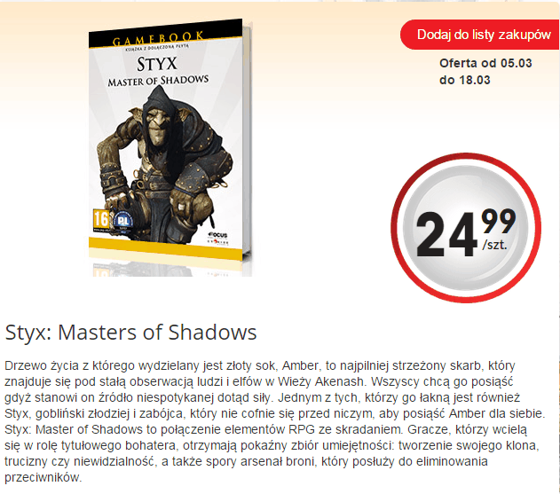 Styx: Master of Shadows w edycji gamebook w Biedronce.