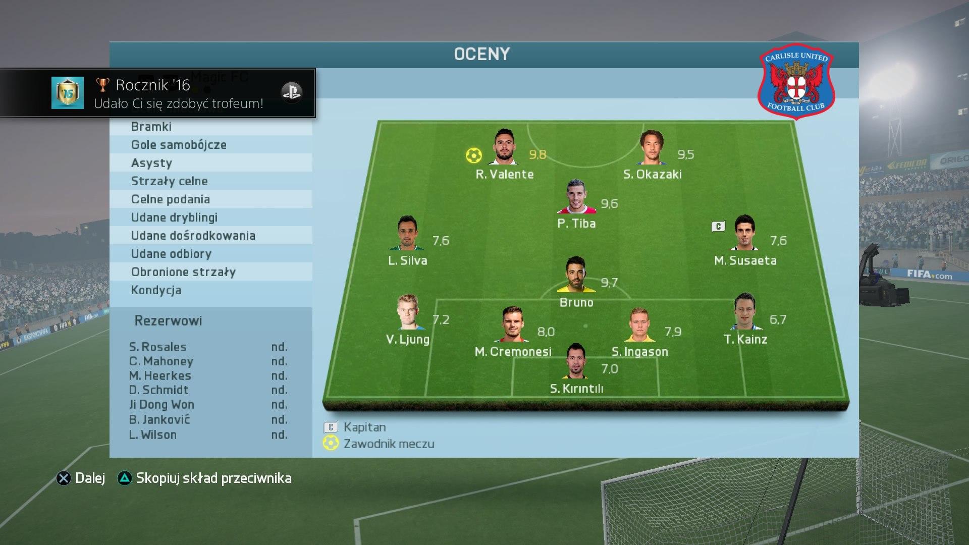 FIFA 16 Sezony FUT (w menu)