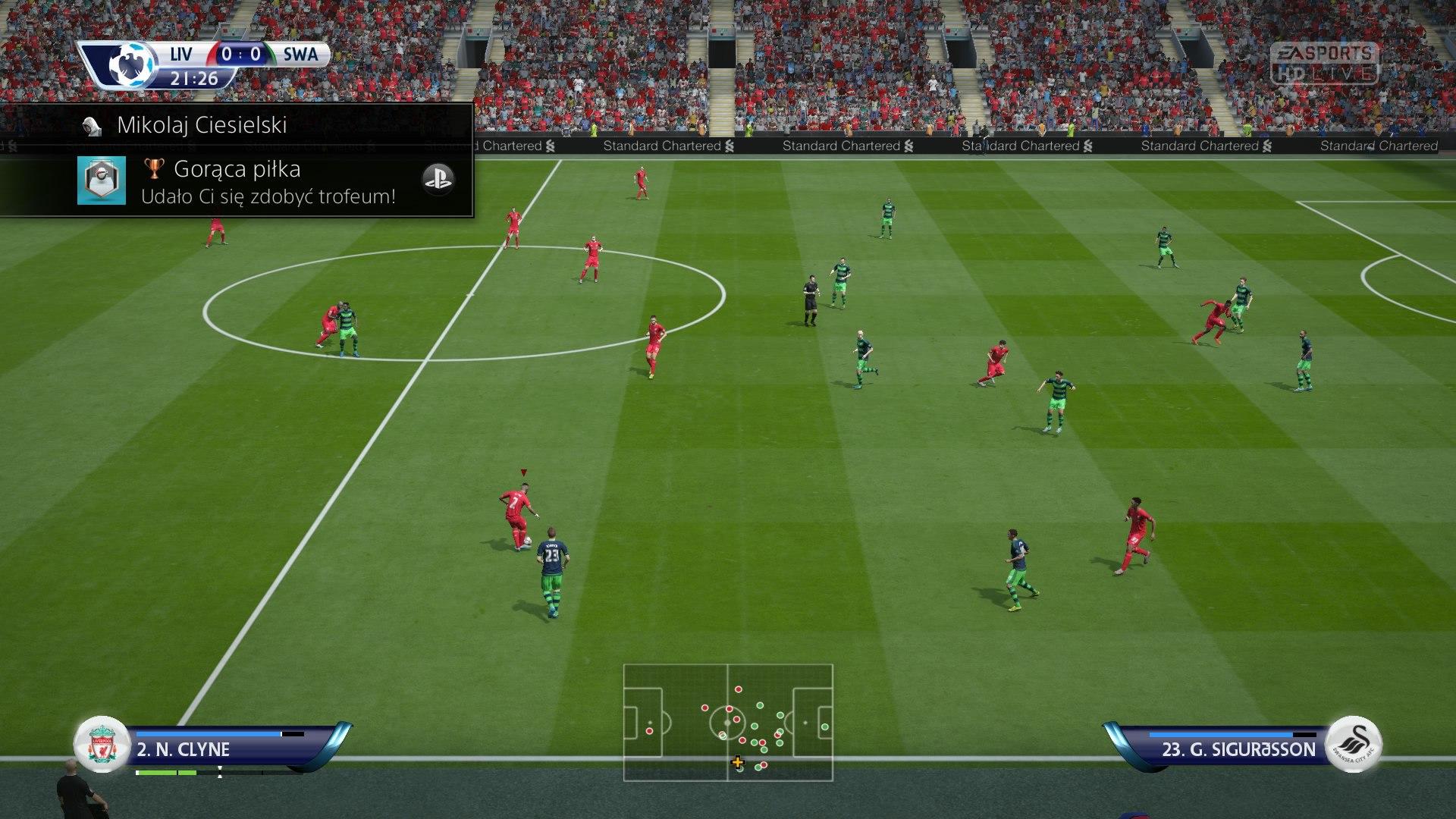 FIFA 16 Szybki mecz 0:0 LIV — SWA, 1. poł.