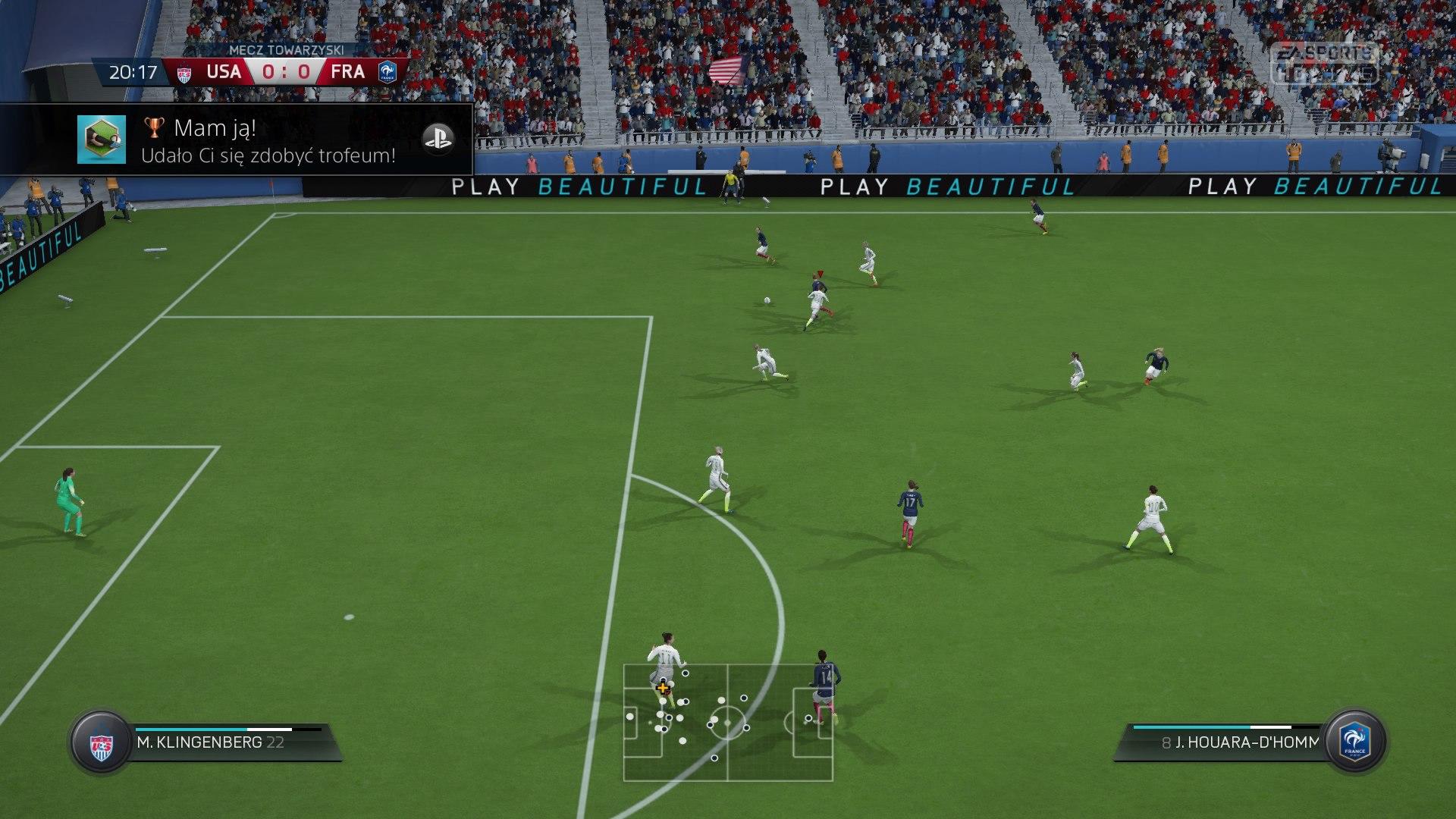 FIFA 16 Szybki mecz 0:0 USA — FRA, 1. poł.